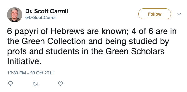 Carroll Hebrews Tweet