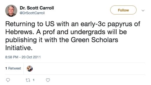 carroll 2011 hebrews tweet