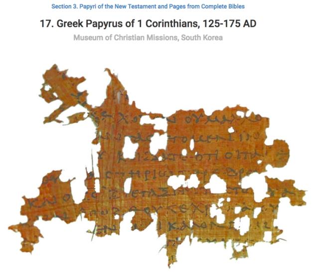 P129 1 Corinthians Korea Fragment