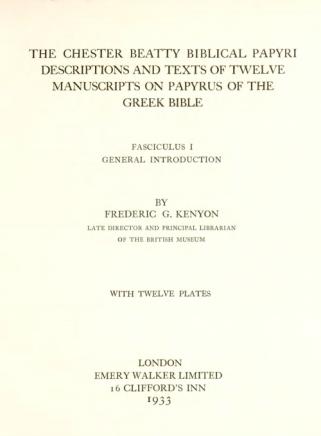 Kenyon Beatty Papyri Fasc 1